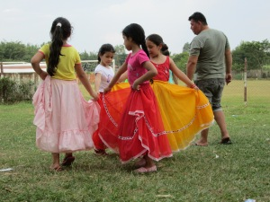 Children practicing traditional dance.